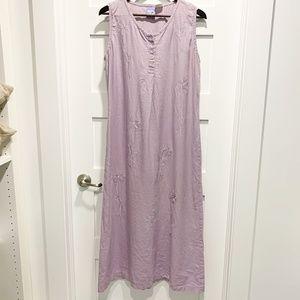 April Cornell Lavender Linen Sleeveless Dress